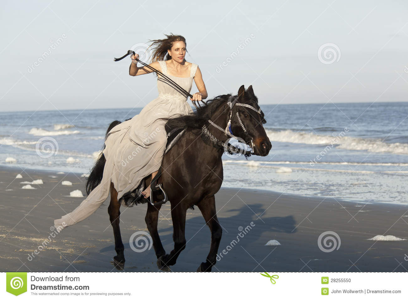 Woman On Galloping Horse On Beach Stock Photo - Image of ...