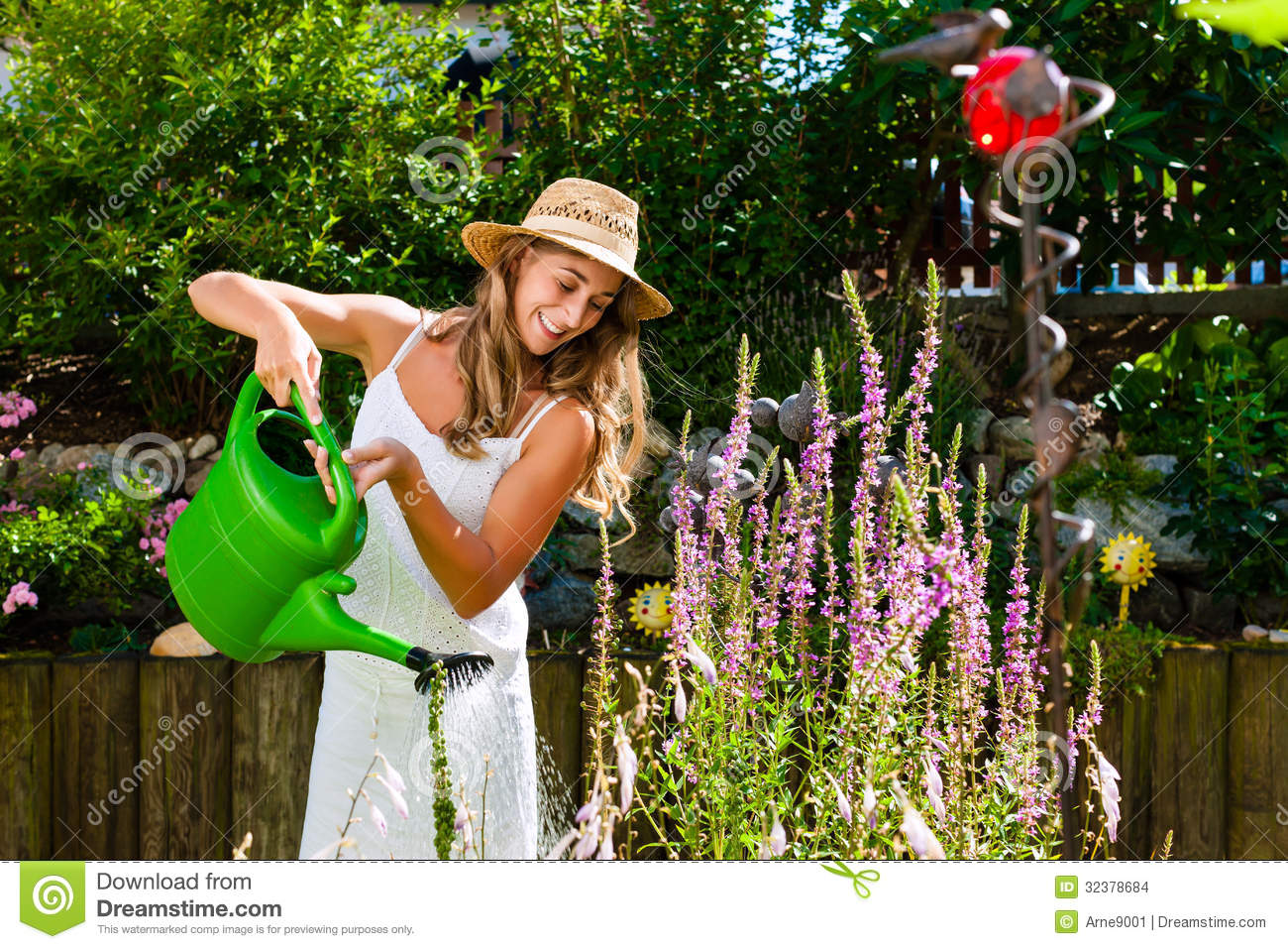 Woman Gardener Watering Flowers In Garden Stock Images