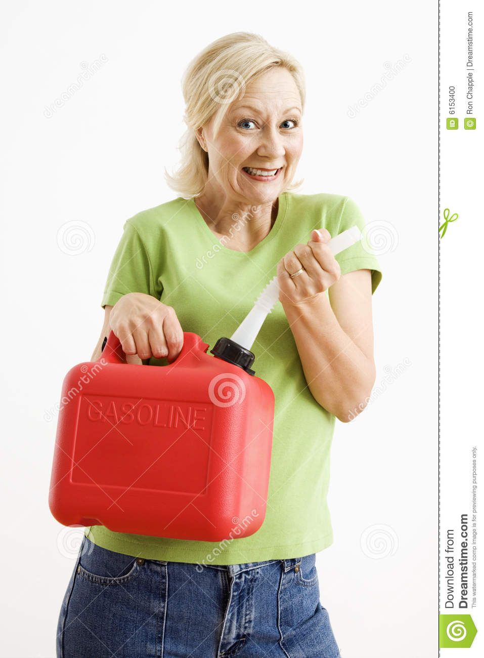 Woman with gas can.