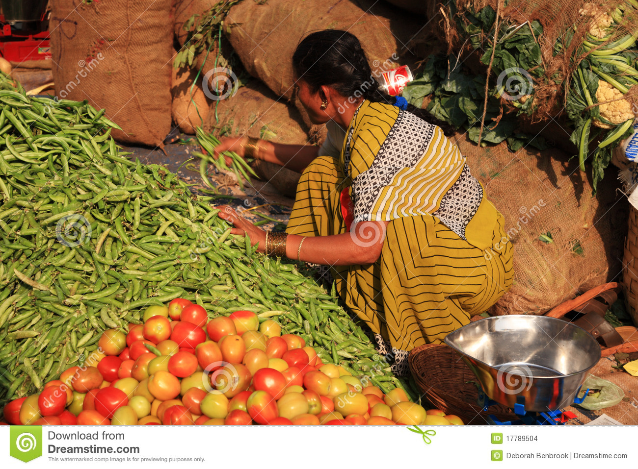 Woman Gathering Green Beans Indian Street Market Editorial