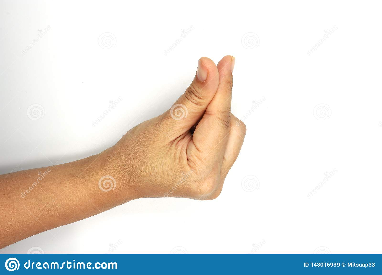 Woman gentle hand is making explanation sign isolated on white background. Clipping path. Female hand stretched for begging