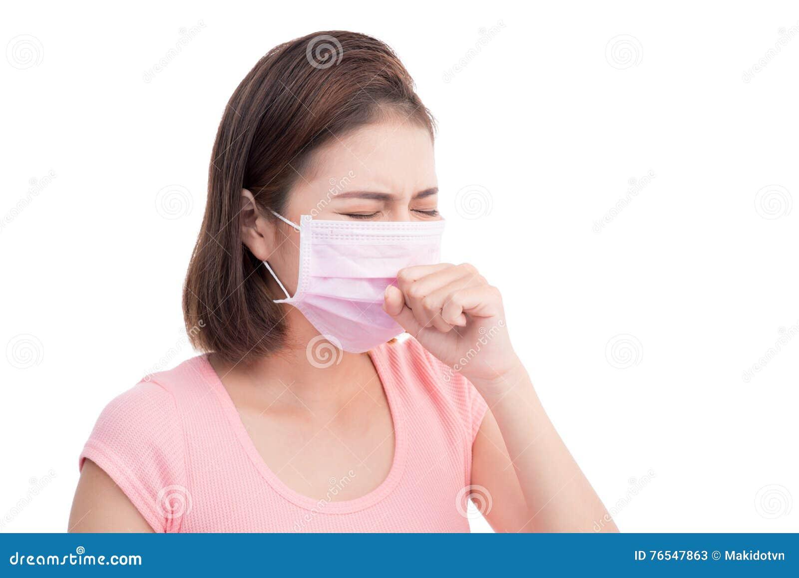 Asian Mask Woman Medical Wear Face Young Stock Get Sick