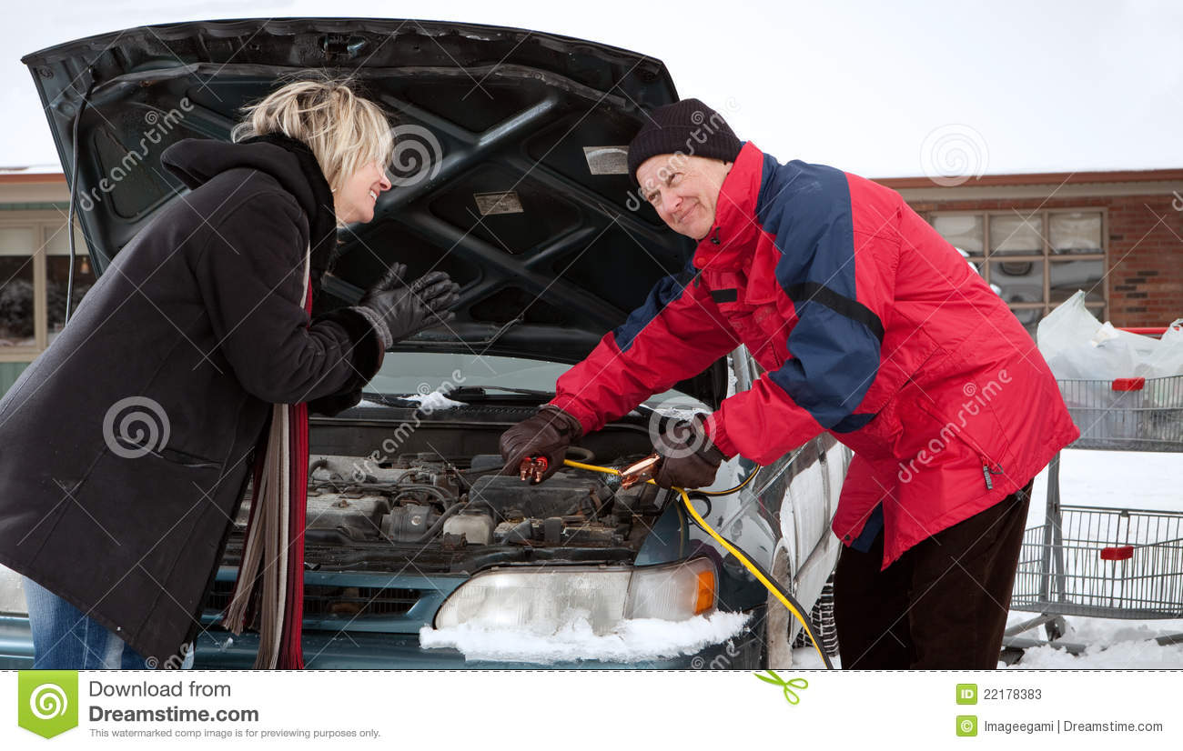Woman Getting A Boost (Old Car Version) Stock Image - Image