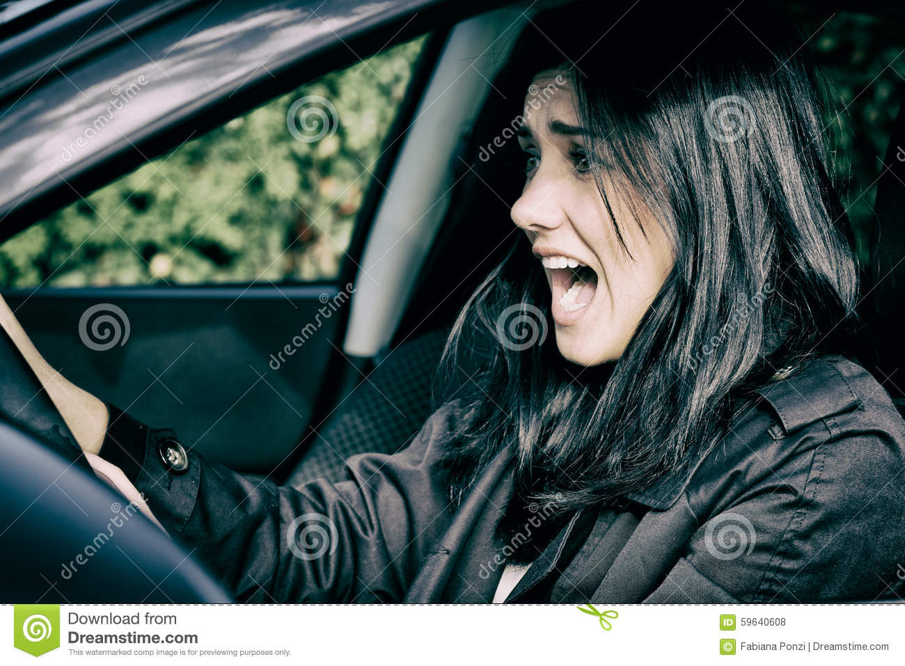 woman getting into car accident scared screaming stock photo image 59640608. Black Bedroom Furniture Sets. Home Design Ideas
