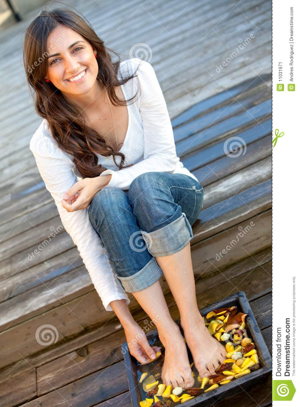 Woman Getting Her Feet Wet Stock Image Image Of Girl