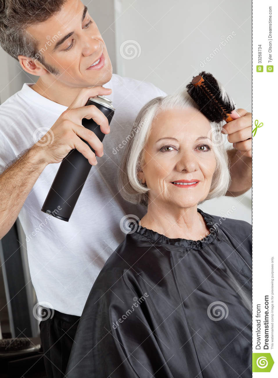 Woman Getting Her Hair Styled Stock Images Image 33268734
