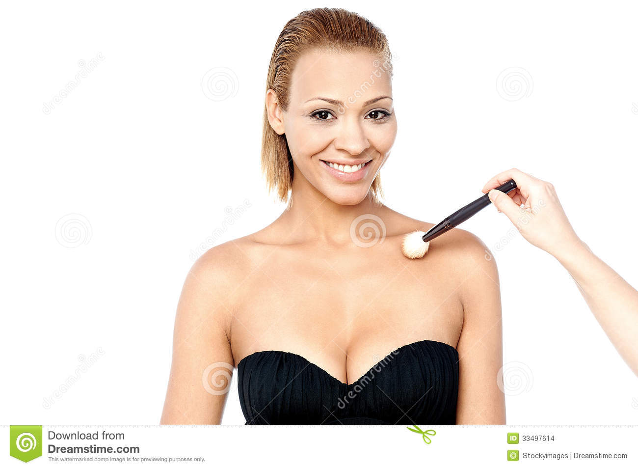 Woman Getting Makeup Applied On Her Body Stock Photo ...