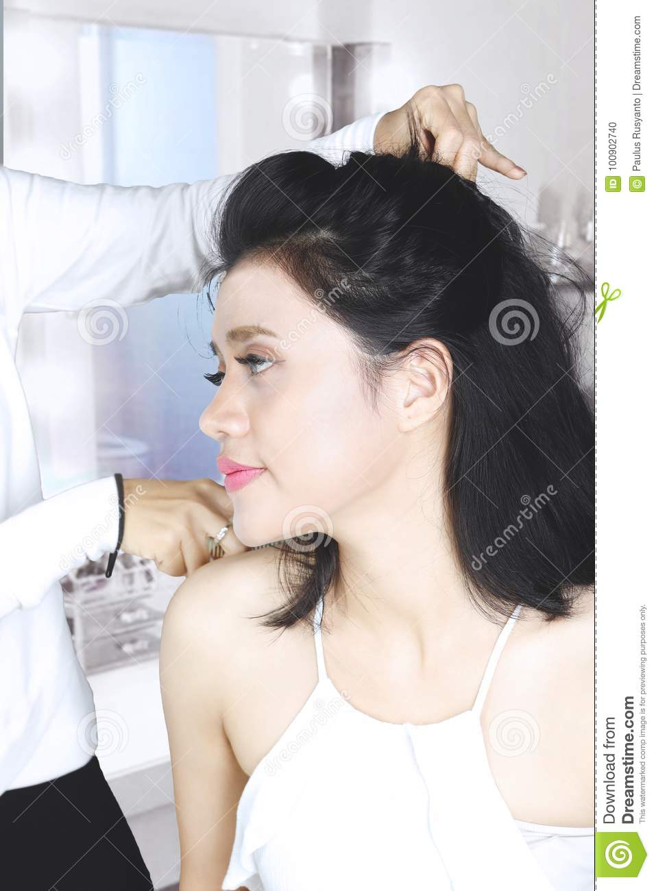 Woman Getting A New Haircut In The Salon Stock Photo Image Of