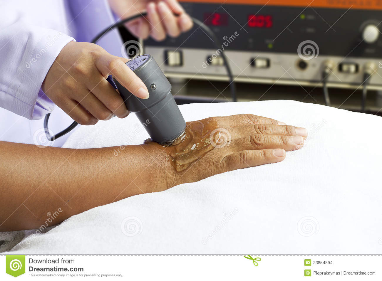 Woman getting physical therapy,ultrasound