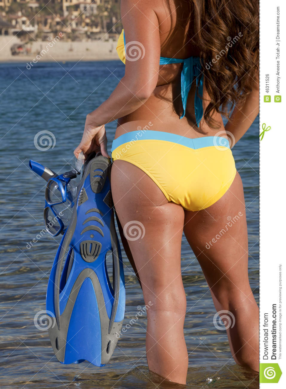 Woman getting ready to go snorkeling