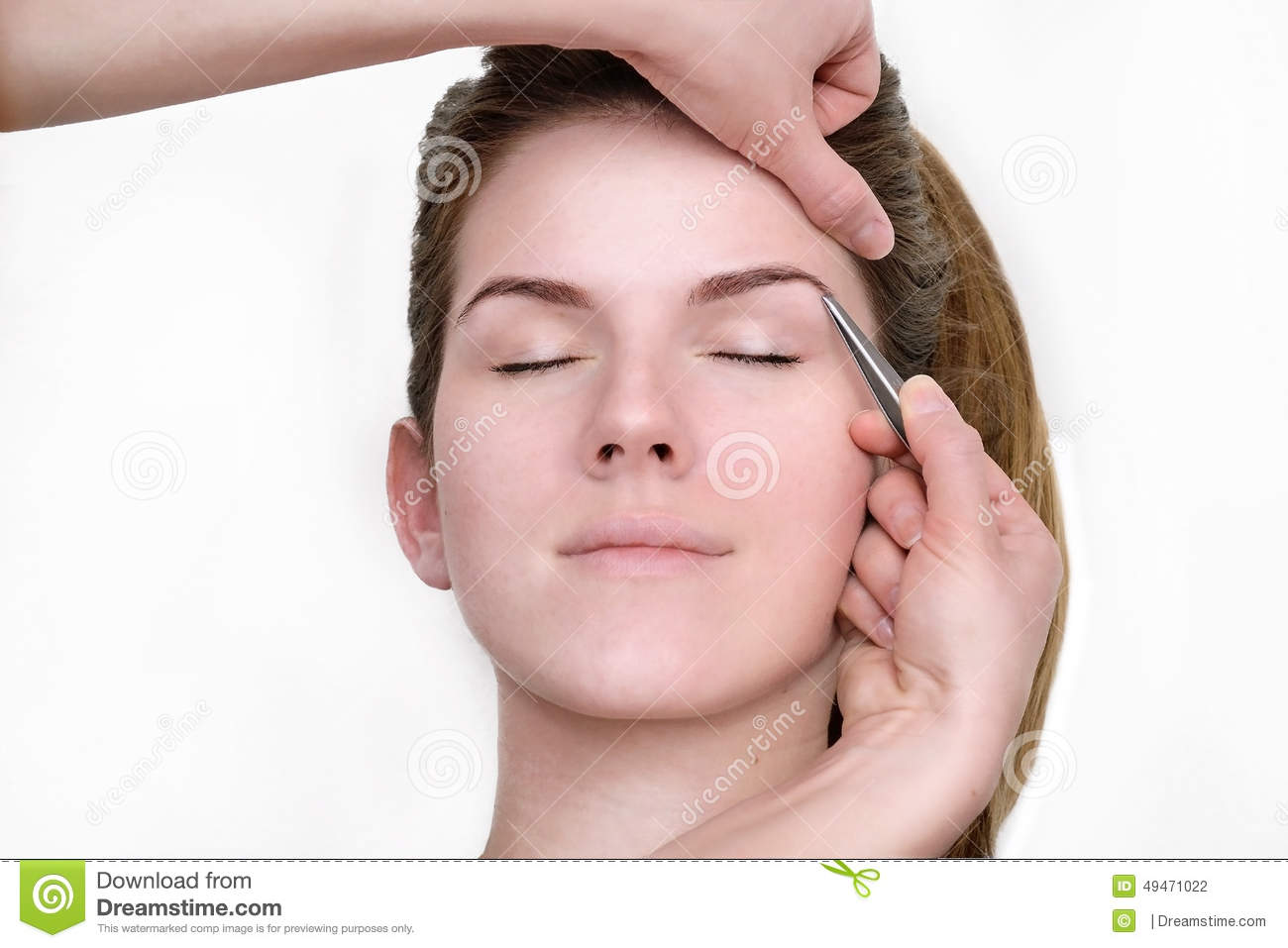 Woman Getting Tweezing Eyebrow By Beautician Stock Photo Image Of