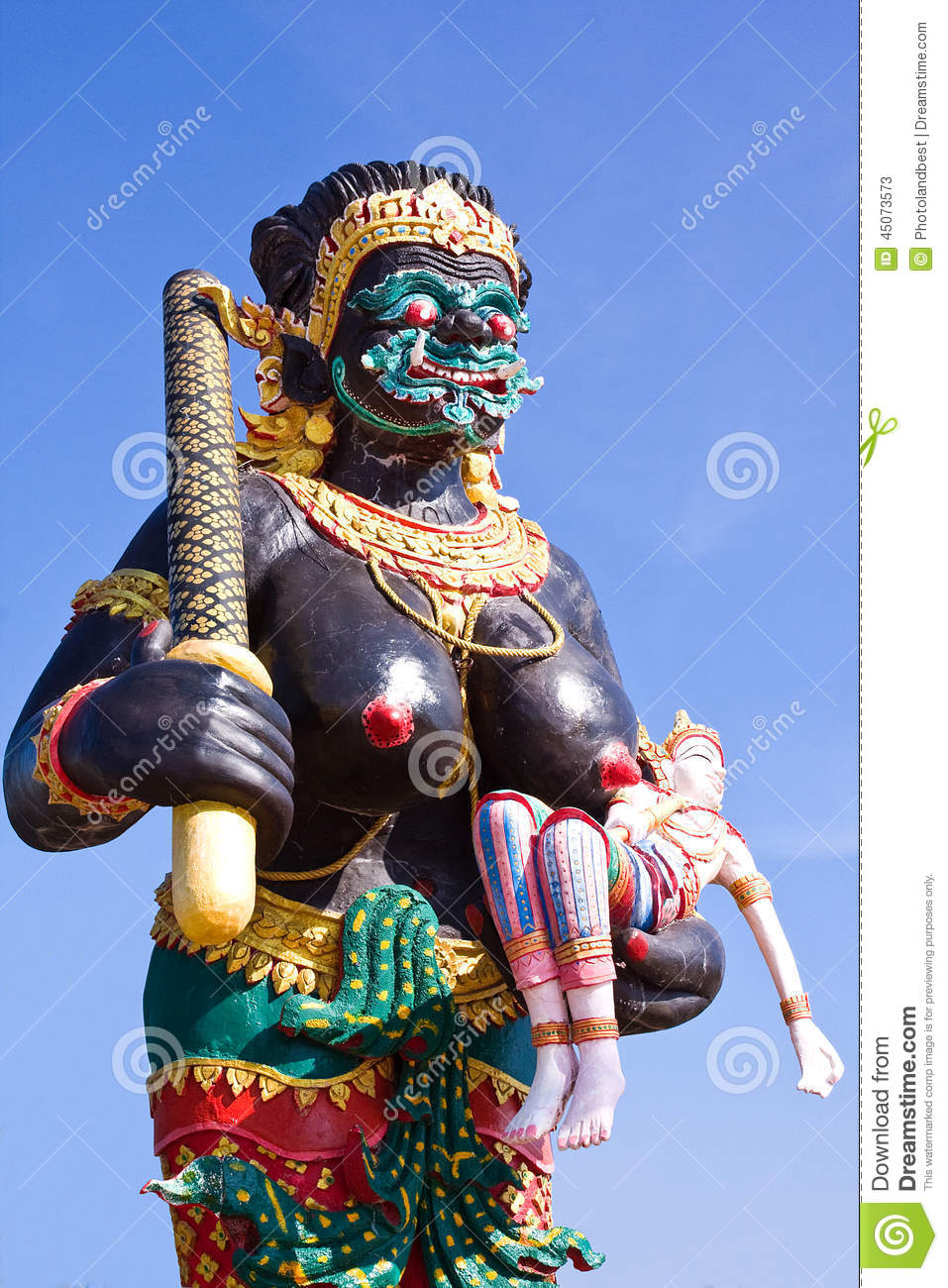 woman giant in thai literature  stock photo