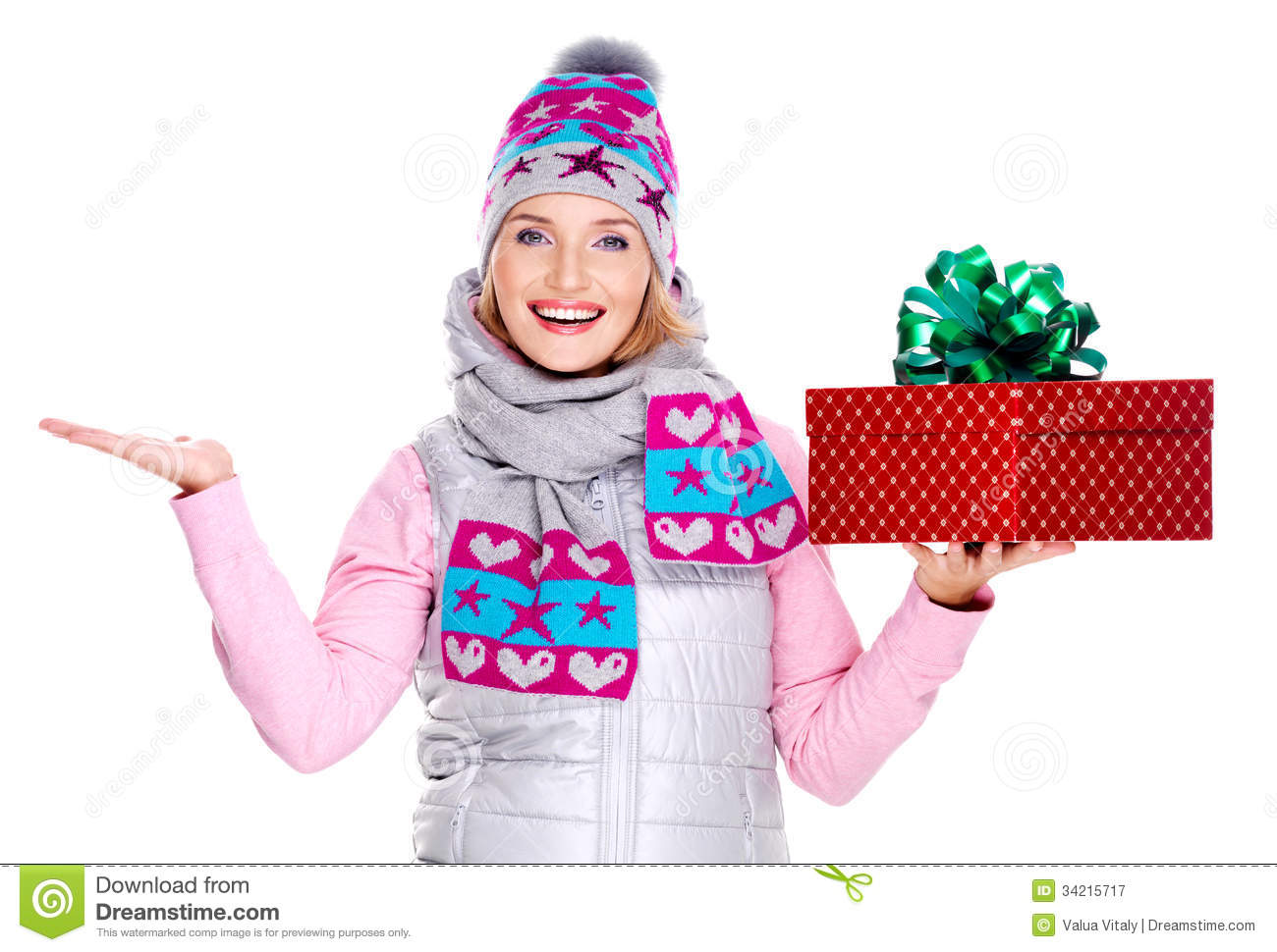 Woman With A Gift And Copy Space In Another Hand Royalty