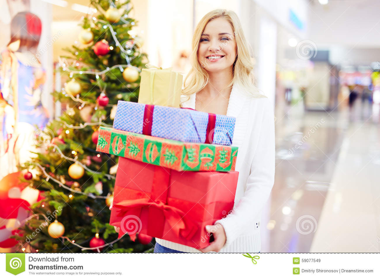 Woman With Giftboxes Stock Photo Image 59077549