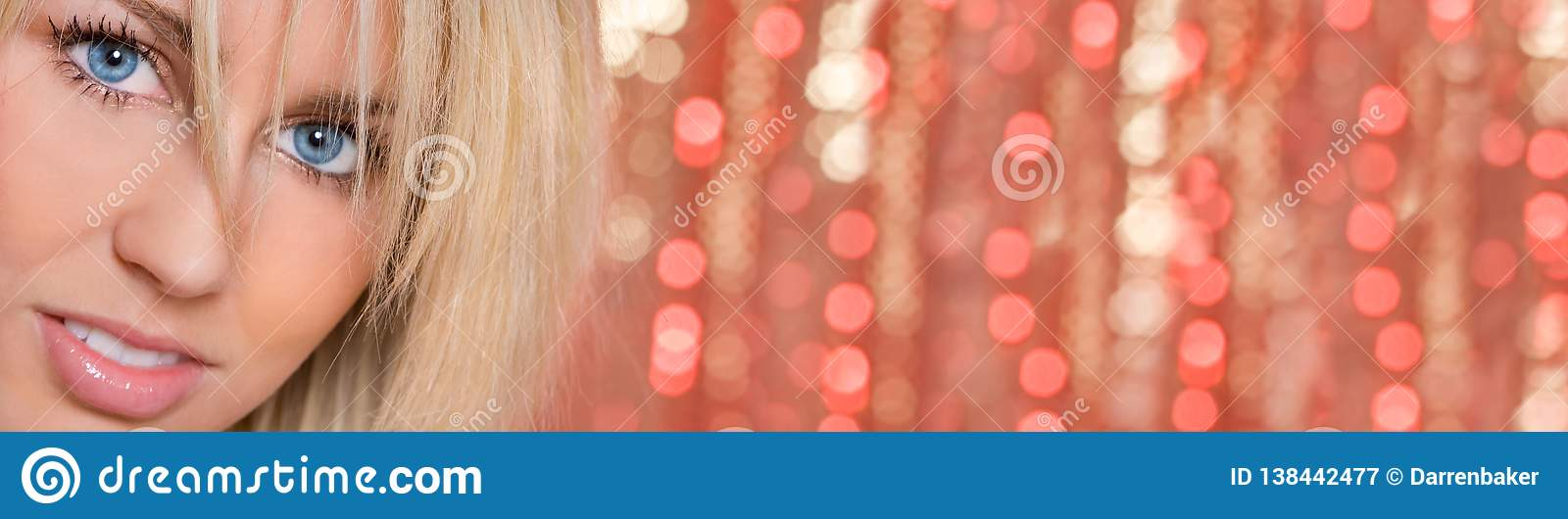 Woman Girl Blue Eyes Bokeh Lights Background Panorama
