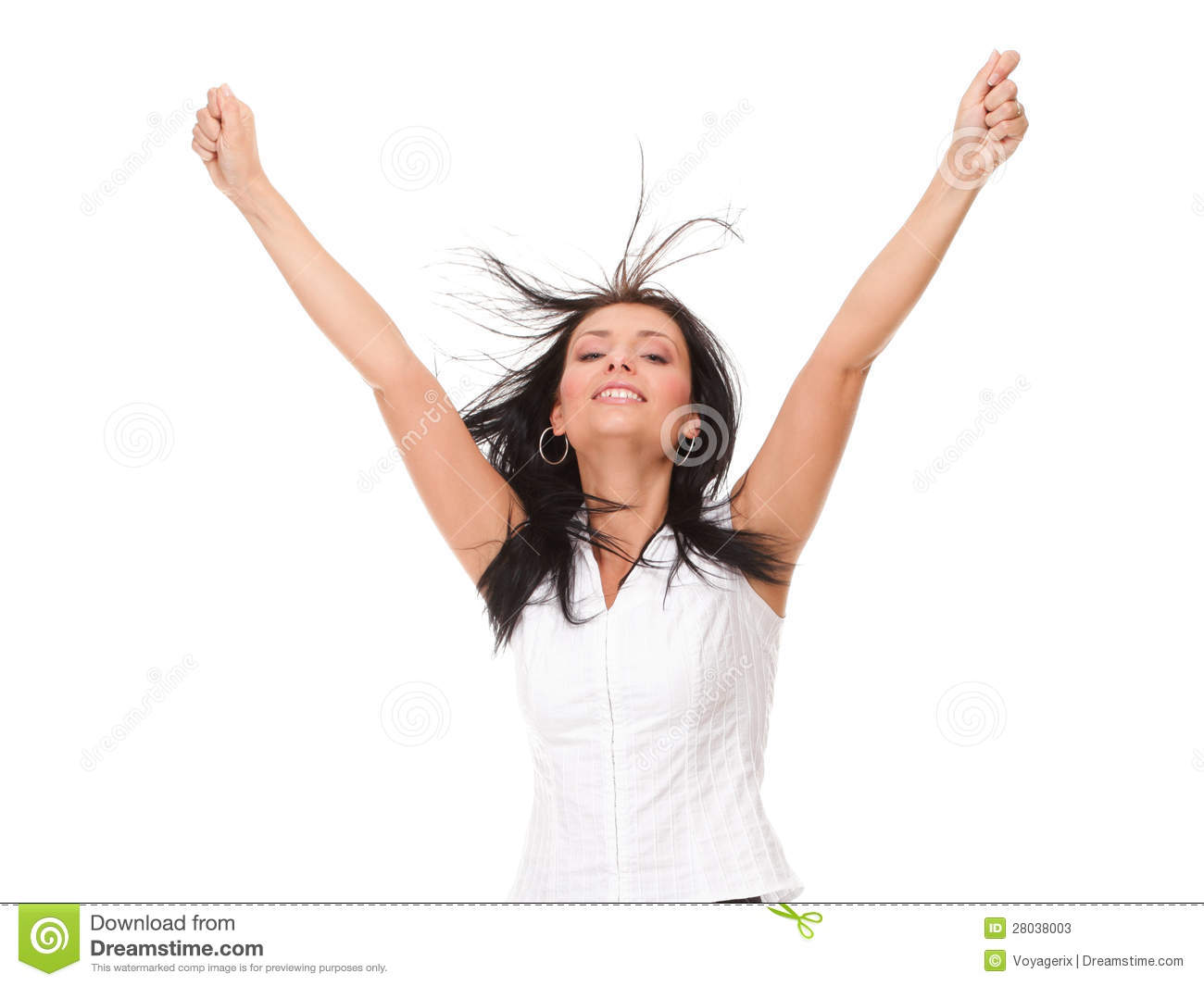 Woman Girl Clenching Arms In Excitement Stock Photos ...