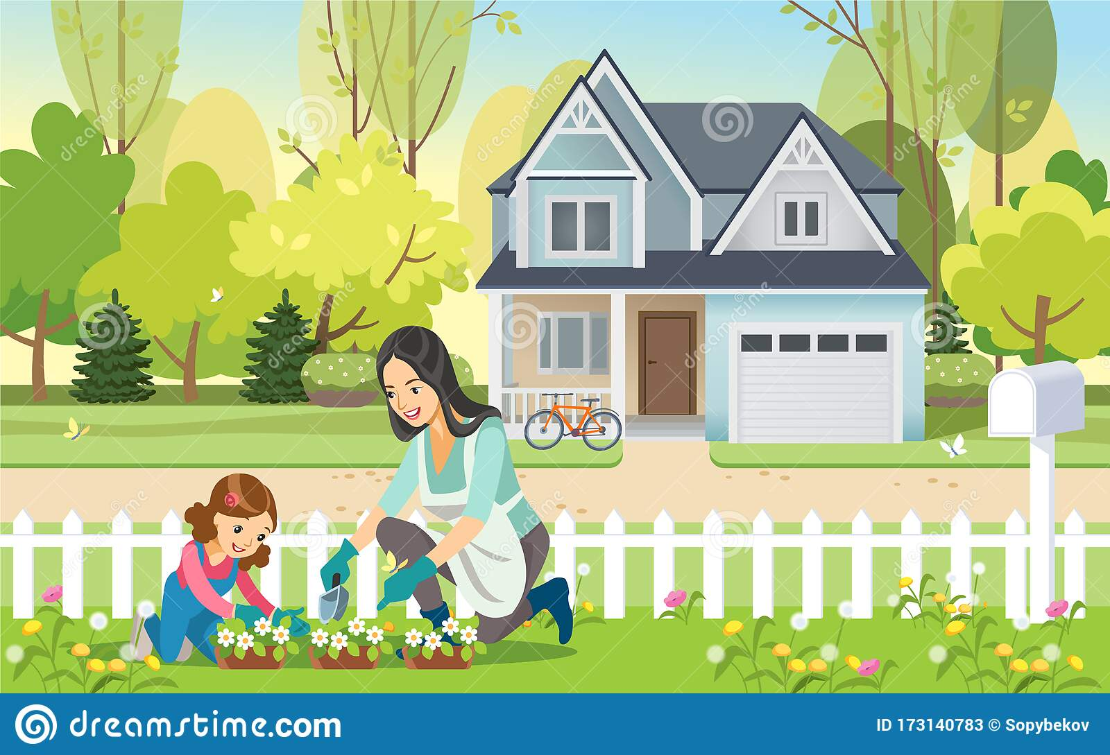 Happy Children Watering Plants In Garden Illustration. Royalty Free Cliparts,  Vectors, And Stock Illustration. Image 91332153.