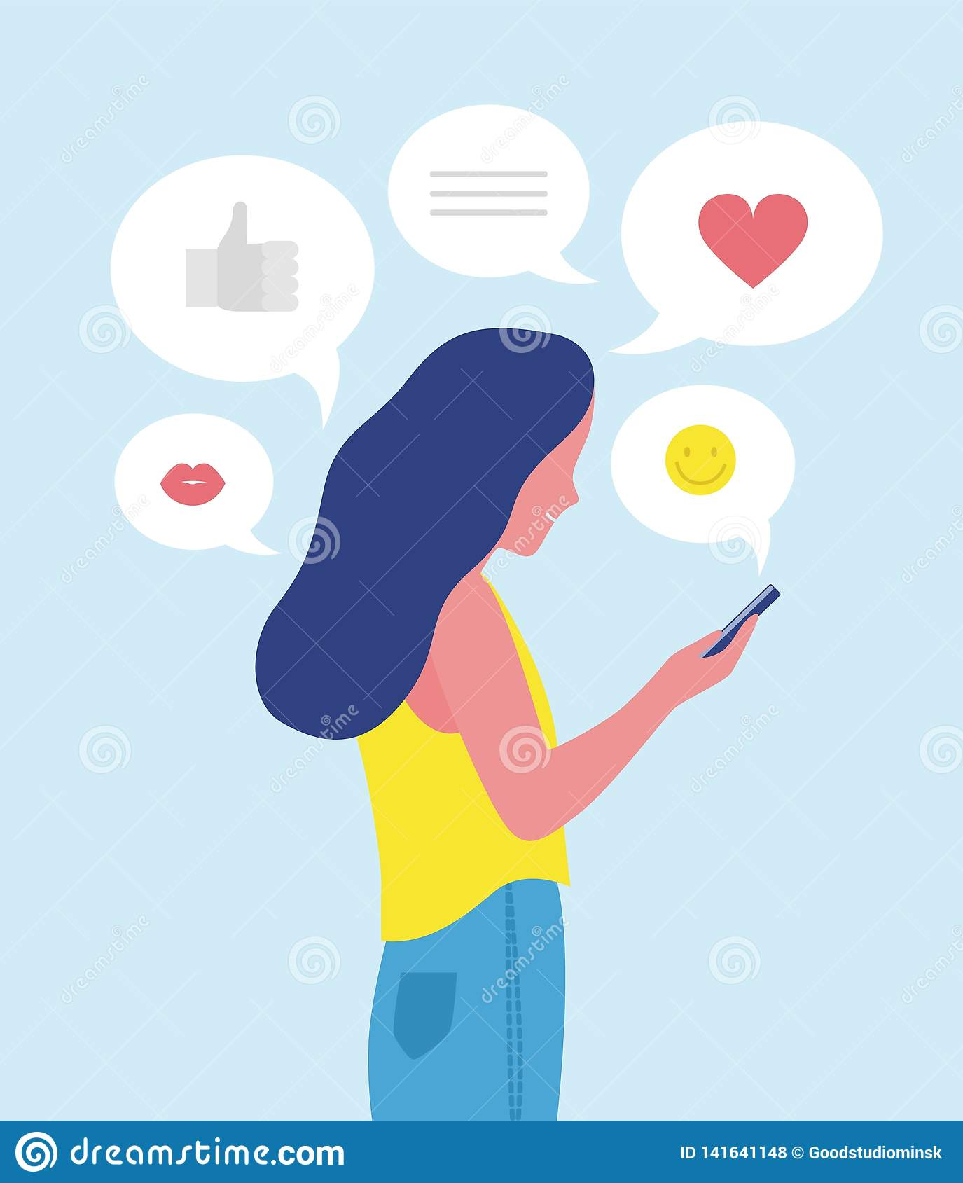 Woman or girl sending and receiving Internet messages on smartphone or texting on mobile phone. Online communication on