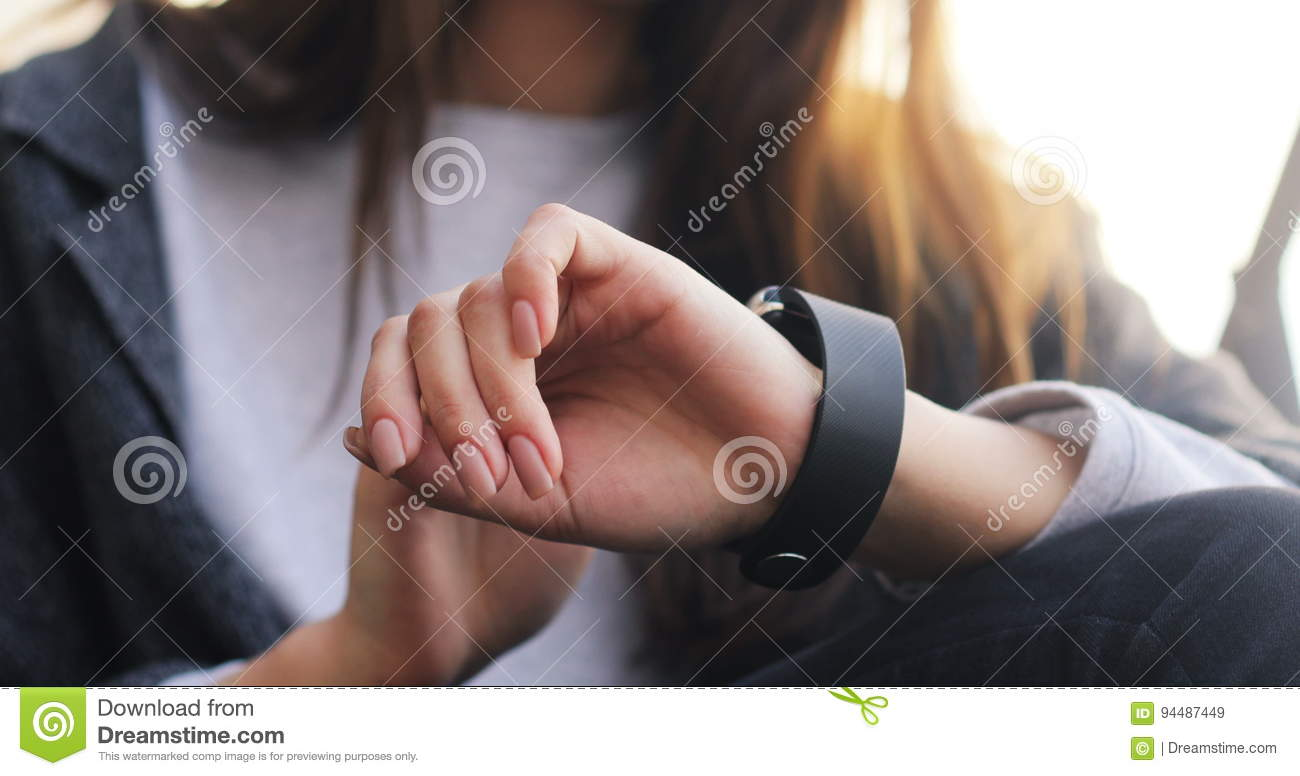 Woman Girl Using Her Smart Watch Device. Close-up Hands ...