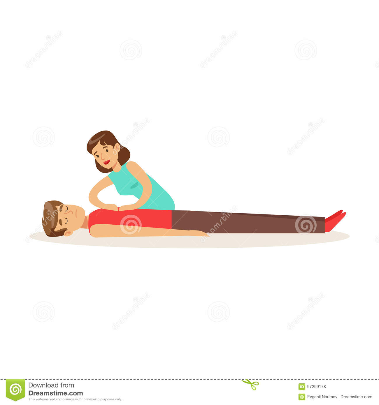 Woman giving a CPR cardiac massage for breathless man, reanimation procedure first aid vector Illustration