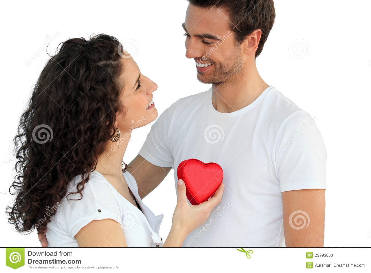 Woman giving man her heart stock image. Image of plain
