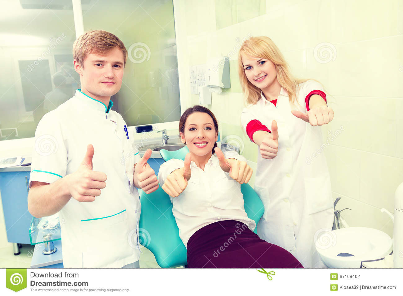 Woman Giving Thumbs Up At Dentist Office  Stock Photo - Image of