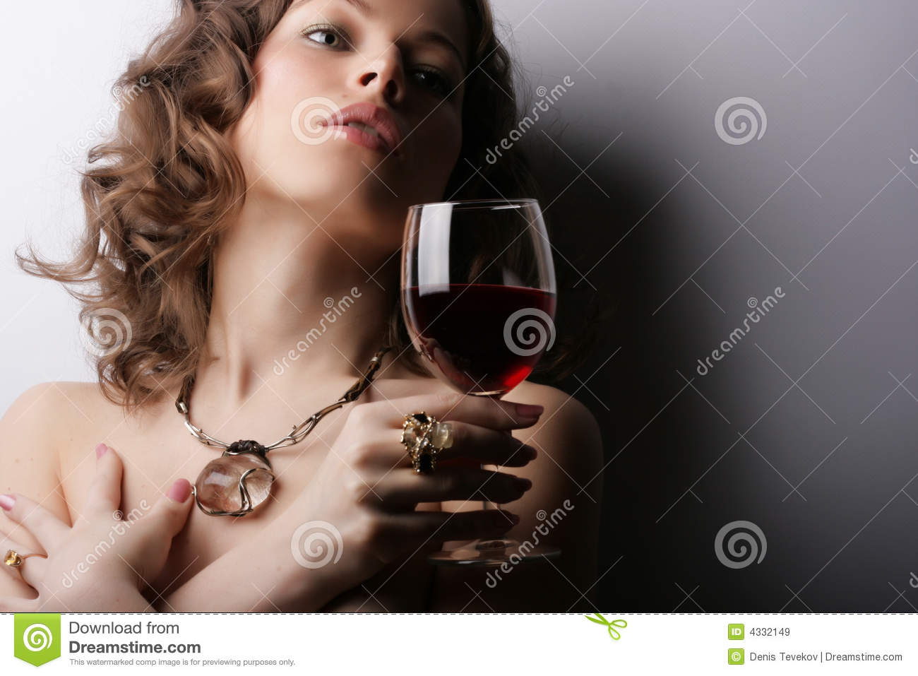 Woman with glass red wine