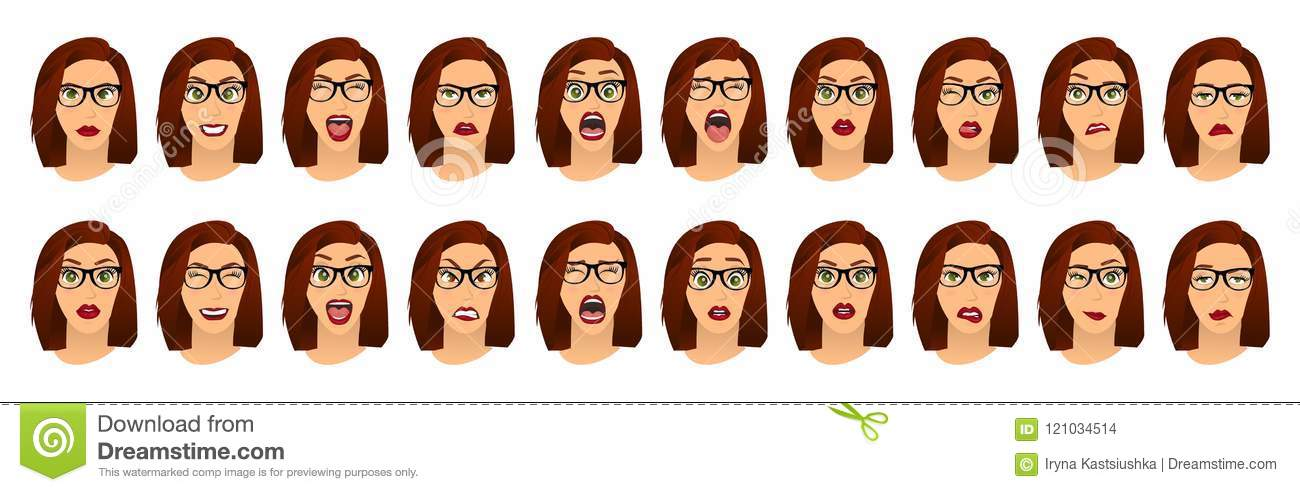 Woman with glasses facial expressions, gestures, emotions happiness surprise disgust sadness rapture disappointment fear