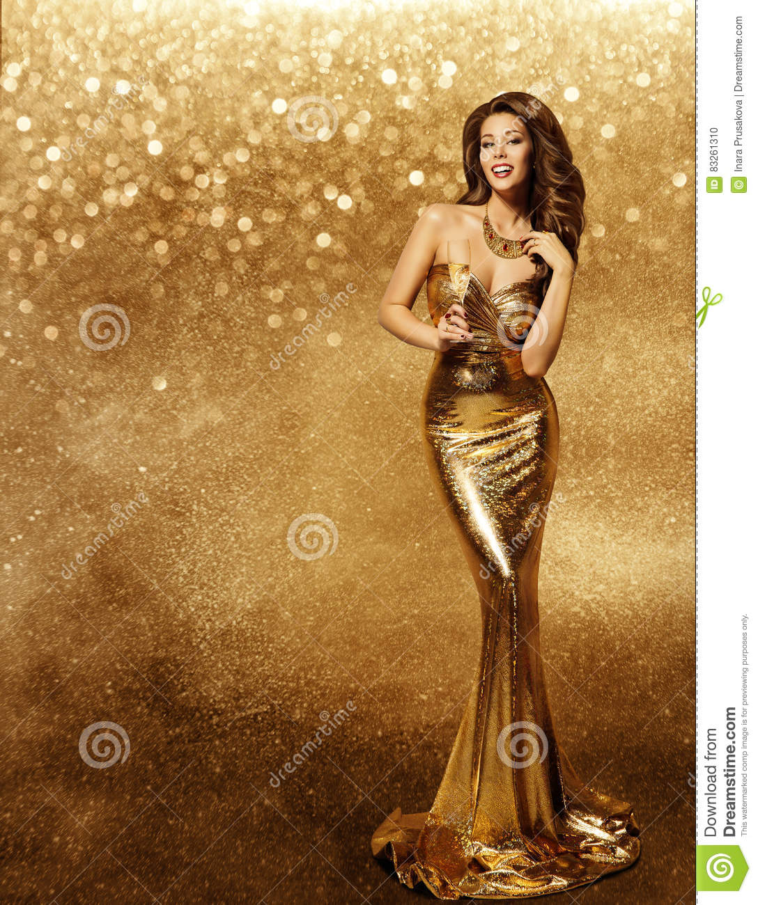 Woman Gold Dress, Fashion Model, Champagne in Long Golden Gown