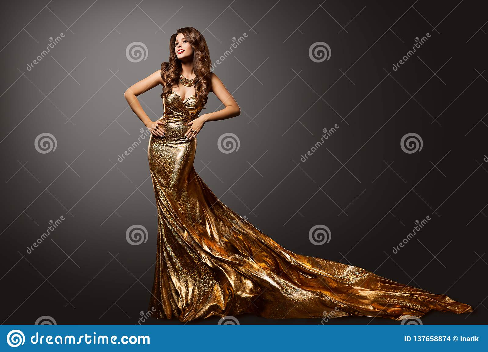 Woman Gold Dress, Fashion Model Gown with Long Tail Train, Beauty Portrait