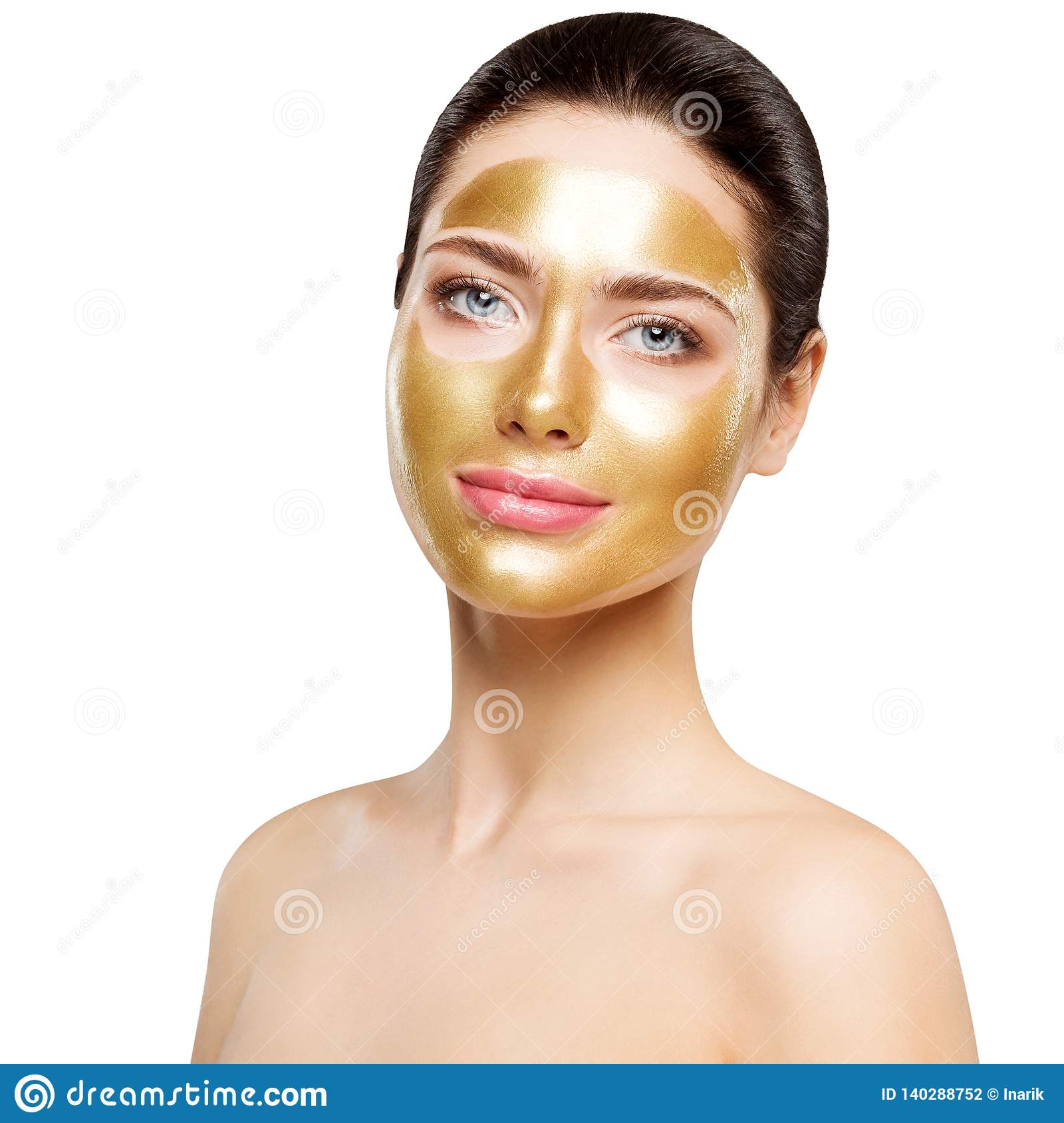 Woman Gold Mask, Beautiful Model with Golden Facial Skin Cosmetic, Beauty Skincare and Treatment