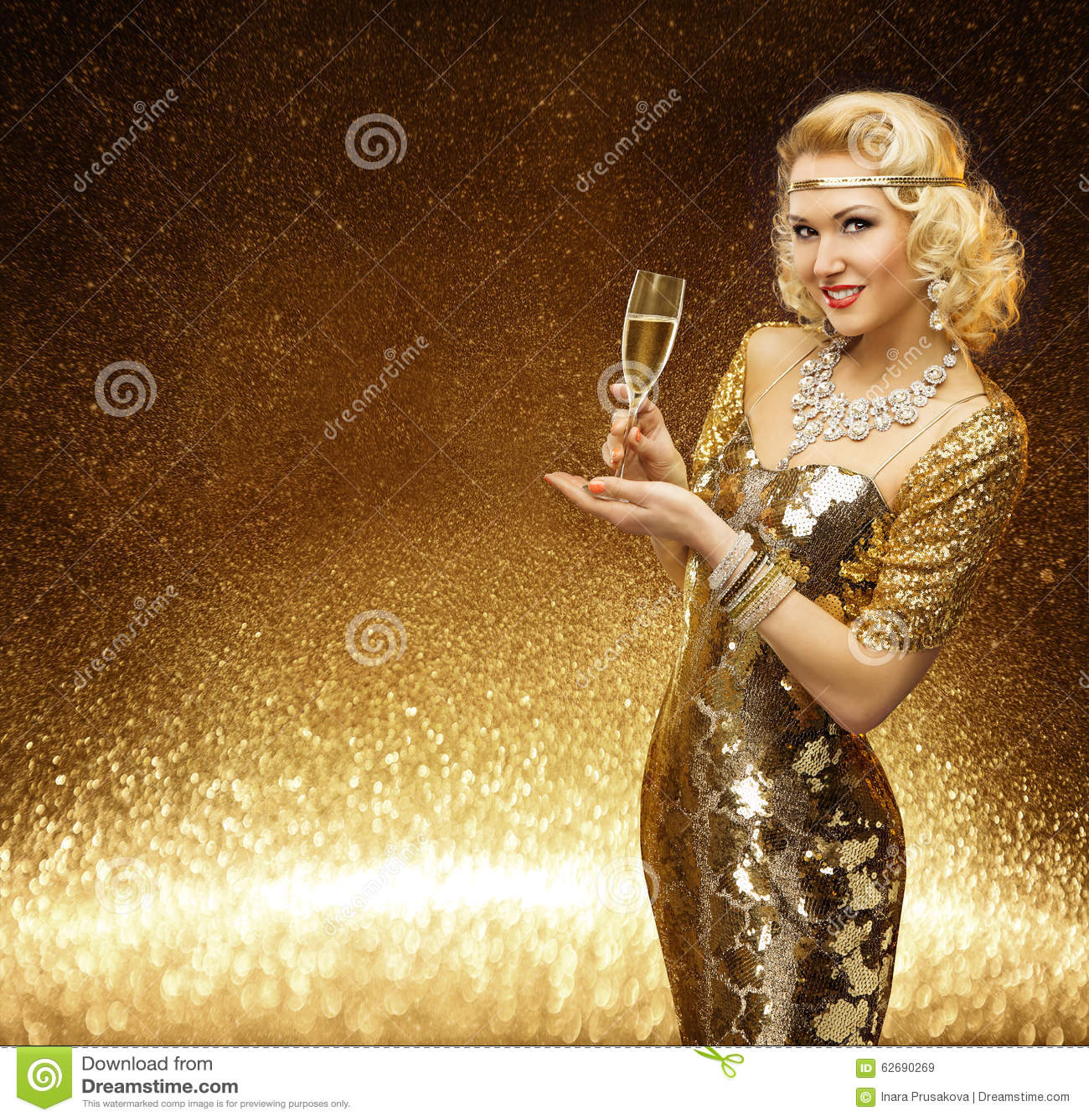Woman Gold, VIP Lady Champagne Glass, Golden Fashion Model