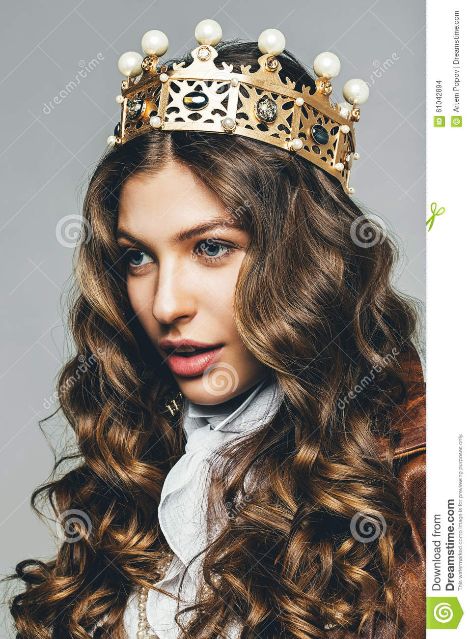 Woman In Golden Crown With Curly Hair Stock Photo Image