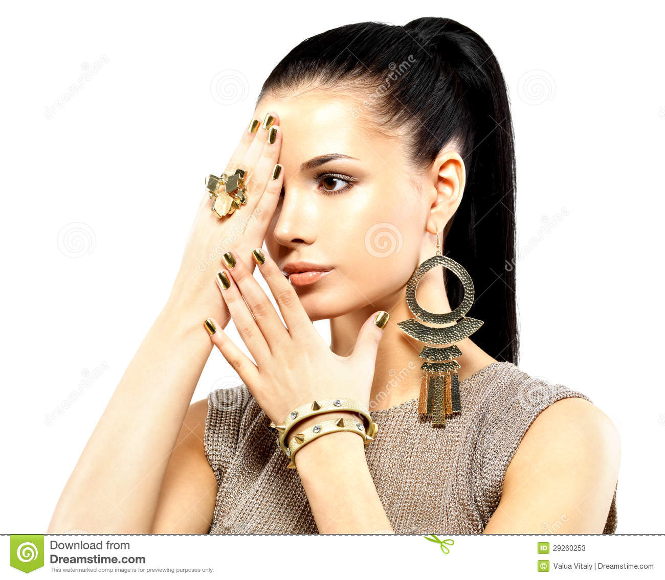 Woman With Golden Nails And Beautiful Gold Jewelry Stock ...