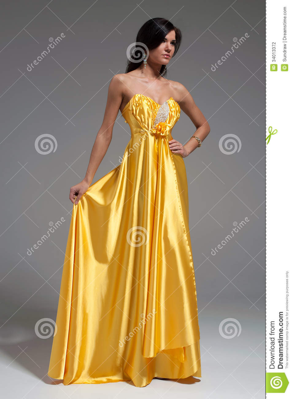 Woman In Golden Yellow Dress Stock Photography - Image: 34013372
