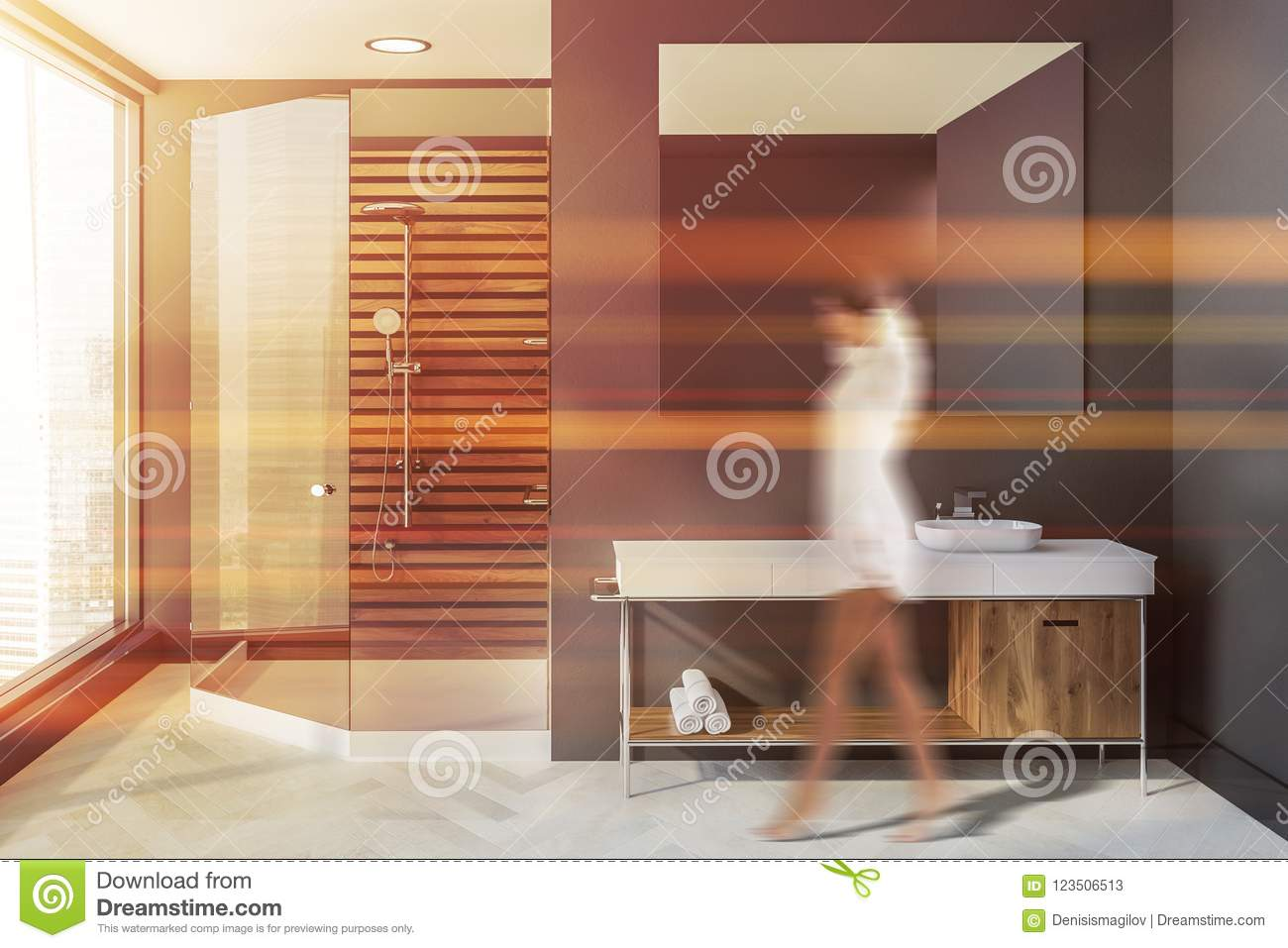 Woman In Gray Scandinavian Bathroom Sink Shower Stock Image