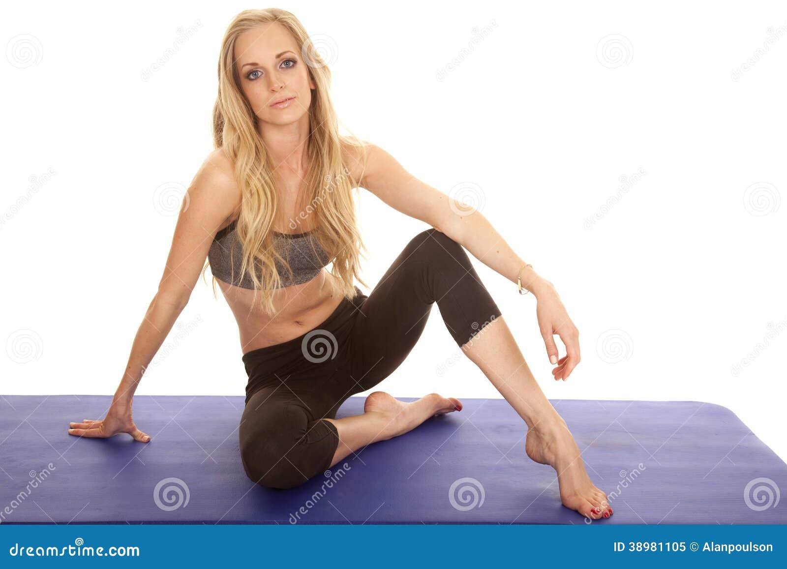 Woman Gray Sports Bra Sit Heel Up Look Stock Photo Image