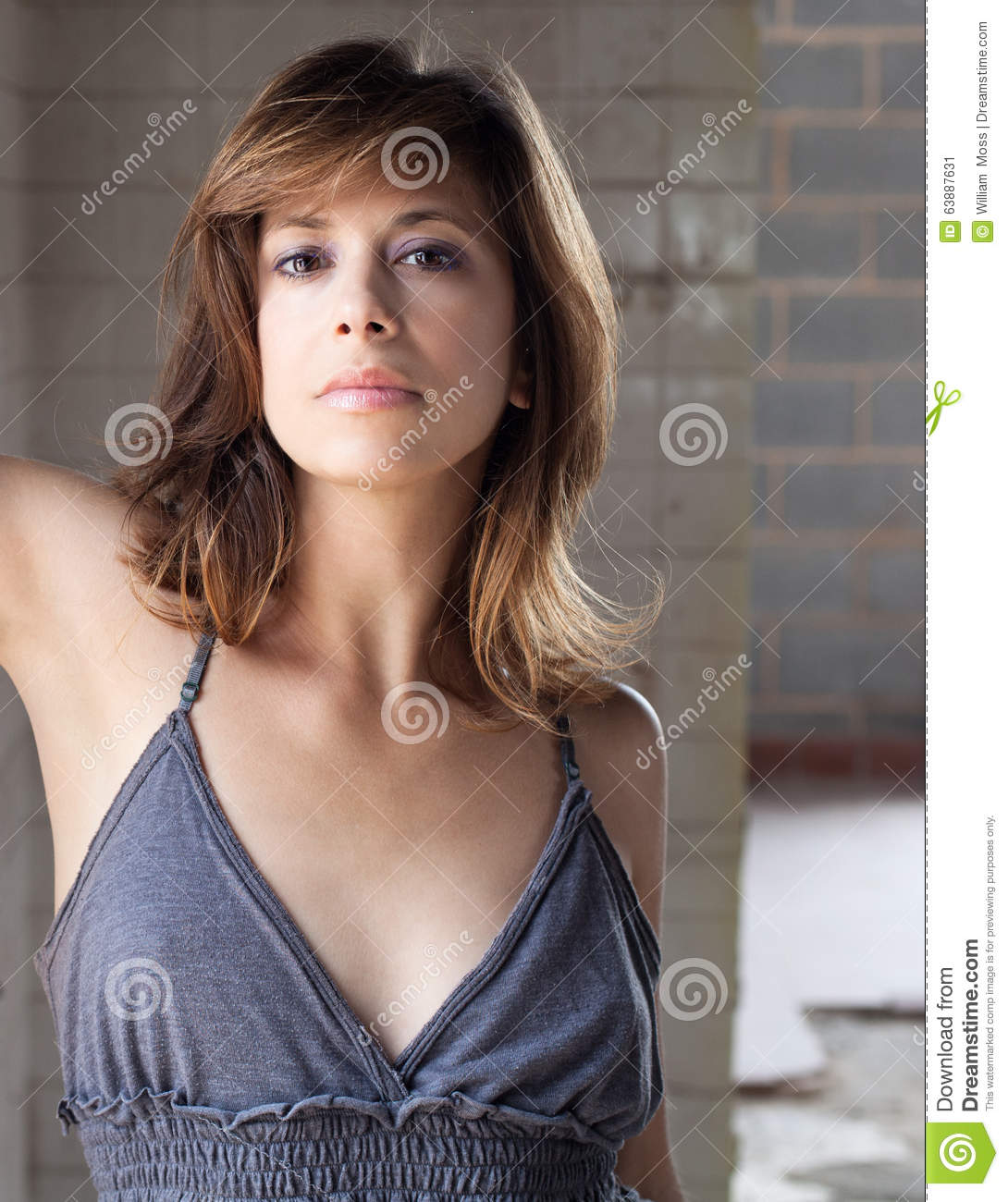 Woman In Gray Top And Purple Eye Shadow Stock Image Image Of Adult