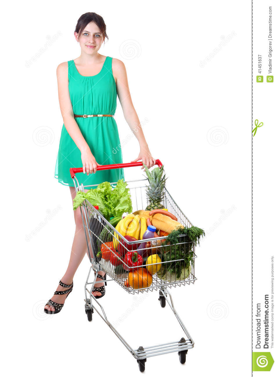 ... Dress With Full Shopping Grocery Cart Stock Photo - Image: 41451637