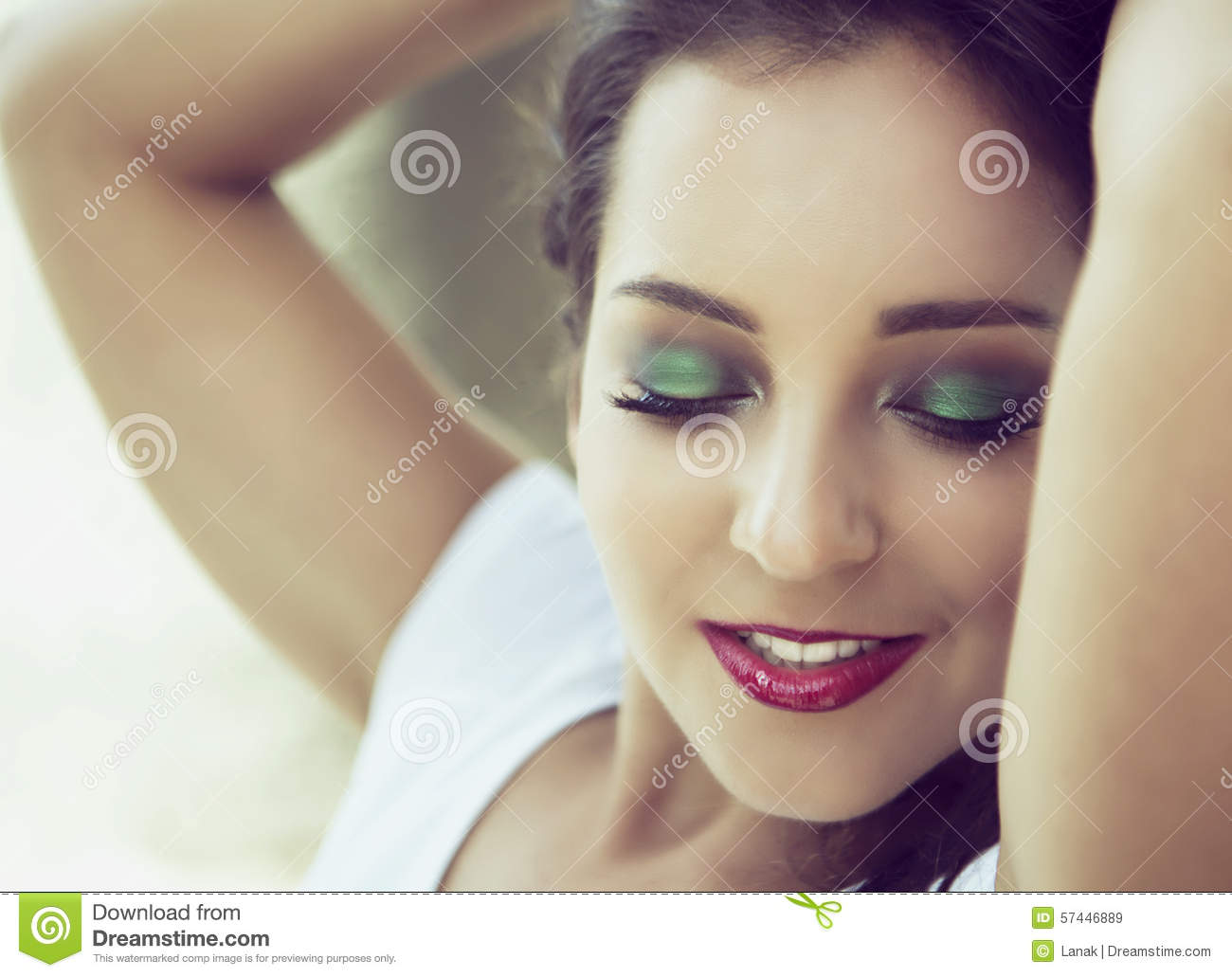 Woman eyes painted in green Photo | Free Download