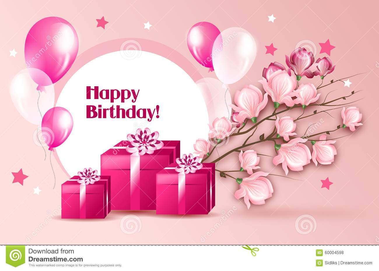 Woman Greeting Card For Birthday Stock Illustration Image 60004598