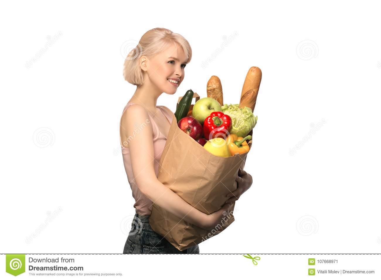 Woman with groceries shopping bag