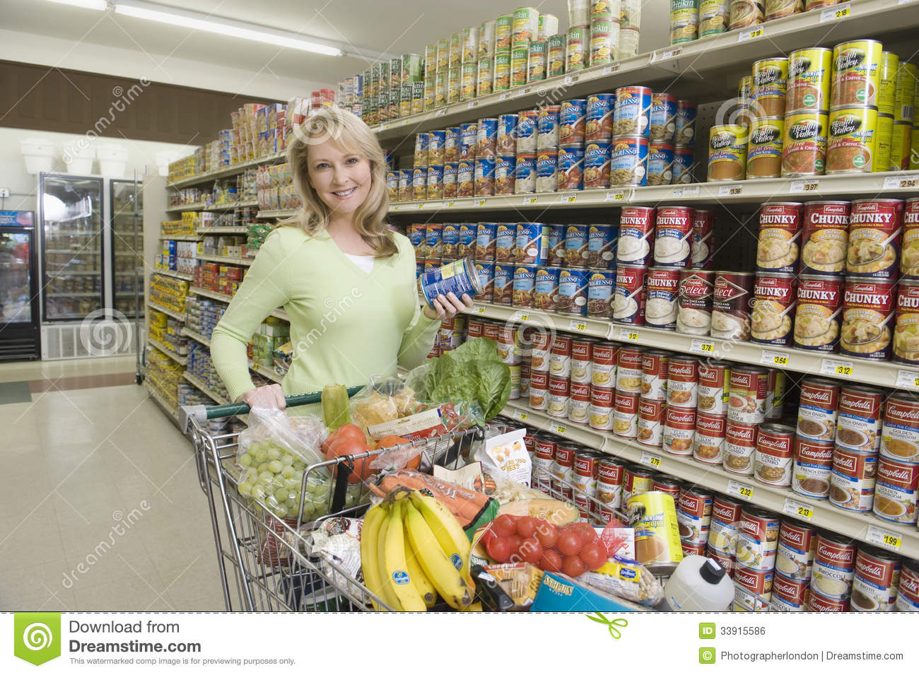 Woman With Grocery Shopping In Supermarket Editorial Photo - Image ...