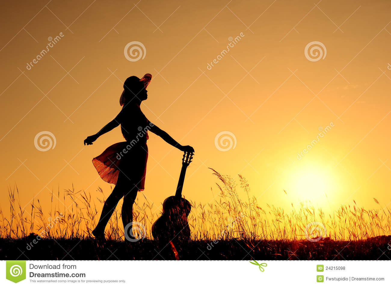 woman and guitar with sunset silhouette royalty free stock