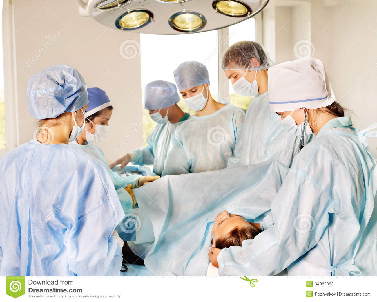 Woman On Gurney In Operating Room Stock Photos Image