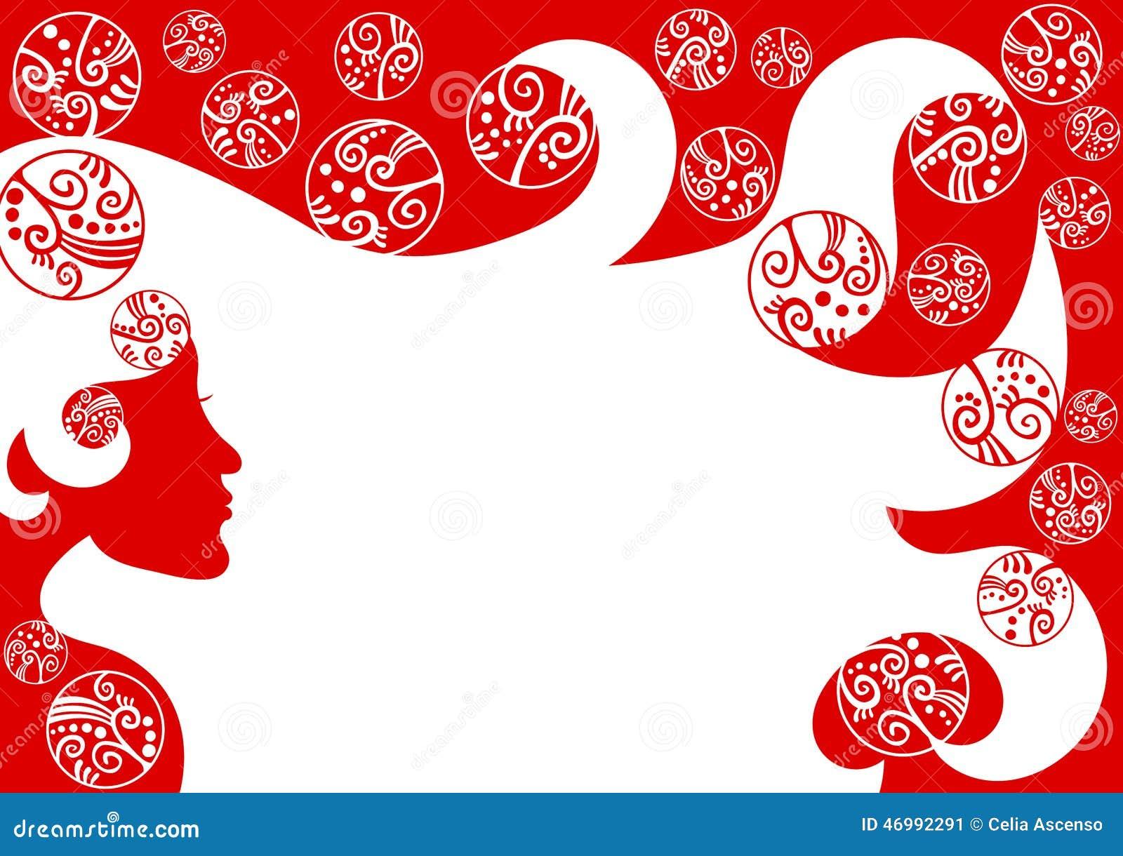 Hair stylist christmas ornaments - Woman Hair Christmas Frame Border