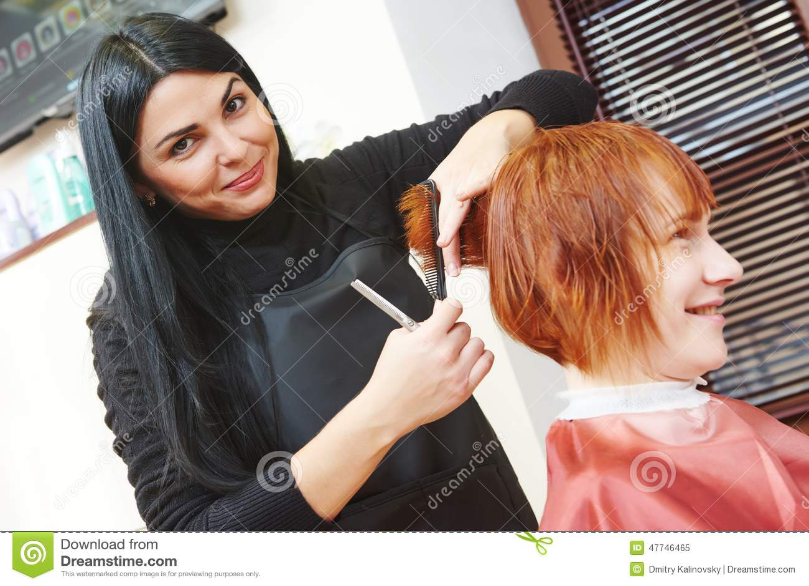 Woman hair cutting work stock image image of girl long - Stylistics hair salon ...