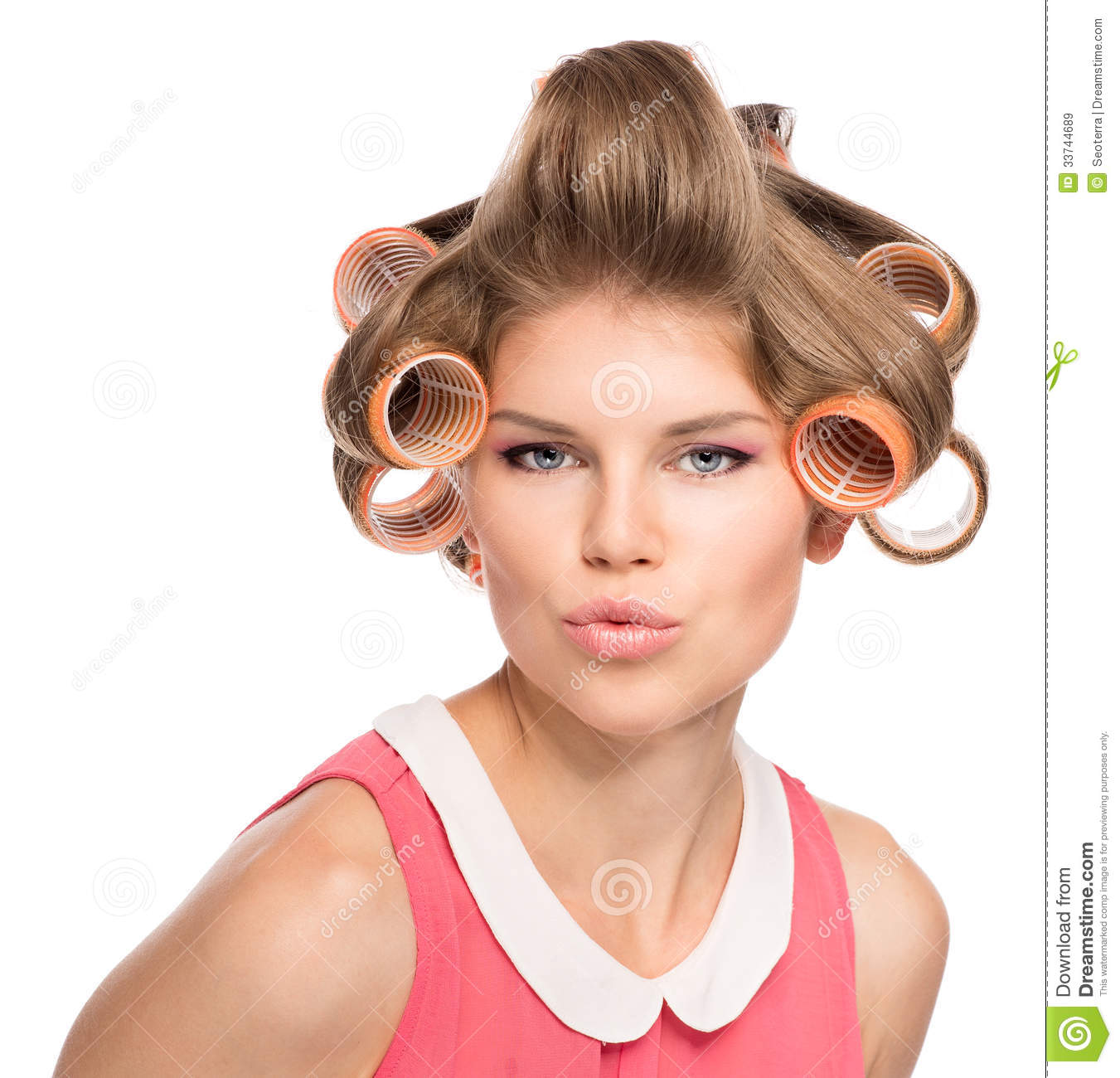 Woman In Hair Rollers Royalty Free Stock Images Image