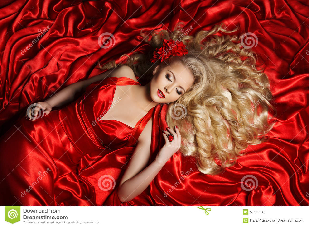 Woman Hair Style Fashion Model Long Curly Hair Girl Red Cloth Stock Photo Image 57169540