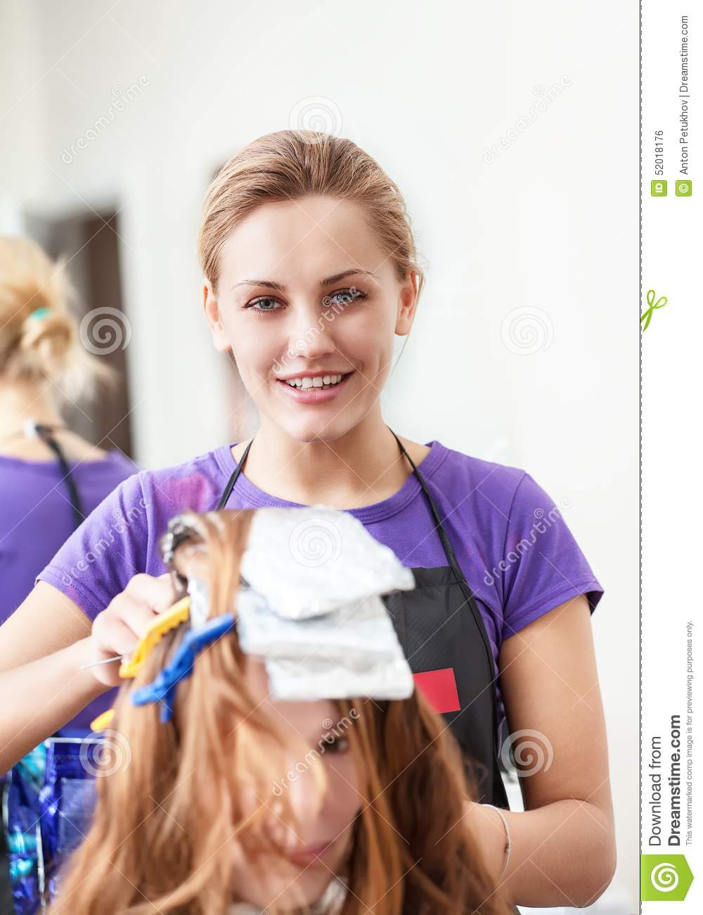 Woman hairdresser dye the hair stock photo image 52018176 for A salon to dye for